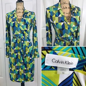 NWOT Calvin Klein Vintage-Inspired Poly Wrap Dress
